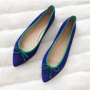 J.Crew Gemma Suede Flats with Contrats Trim